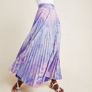 NEW Anthropologie Marble Dyed Pleated Maxi Skirt 4